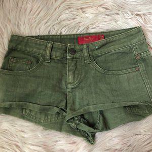 Tigerlily Khaki Green Distressed Wash Cotton Denim Shorts Size 6